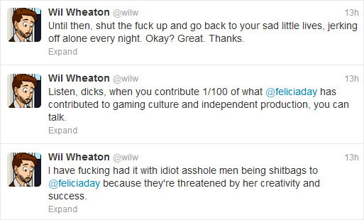 A few more comments Wheaton provided in regards to the incident.