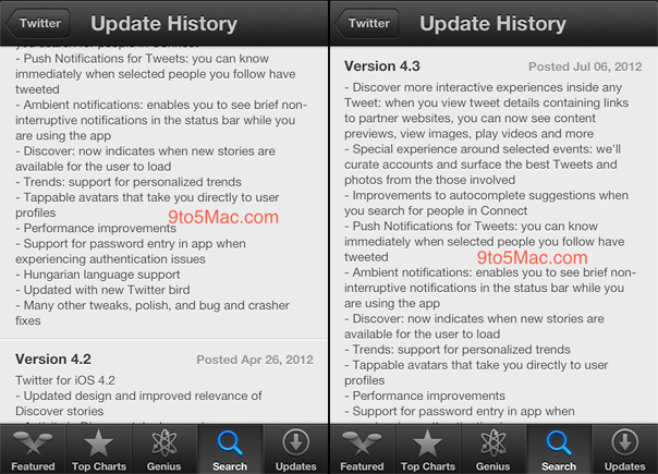 A list of possible updates to the official Twitter app for iOS (image provided by 9 to 5 Mac).